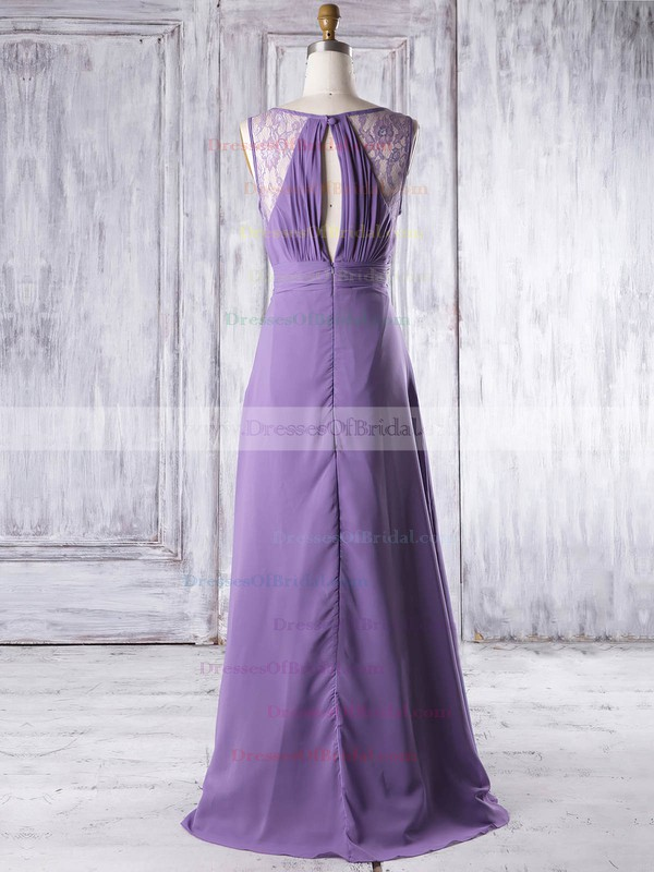Lace Chiffon A-line V-neck Floor-length with Ruffles Bridesmaid Dresses #DOB01013319