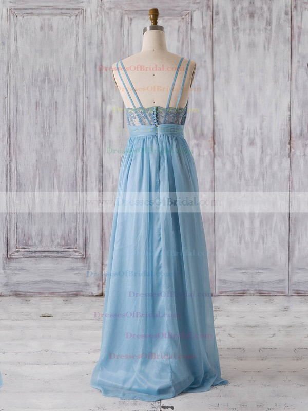 Chiffon A-line V-neck Floor-length with Lace Bridesmaid Dresses #DOB01013320
