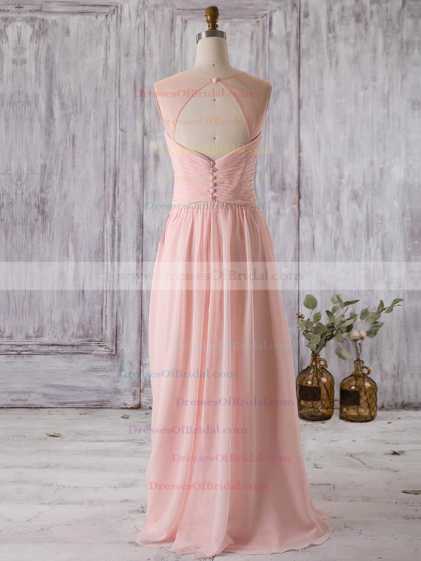 Chiffon Tulle A-line Scoop Neck Floor-length with Appliques Lace Bridesmaid Dresses #DOB01013321