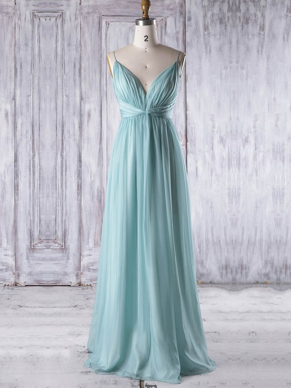 Chiffon Empire V-neck Floor-length with Ruffles Bridesmaid Dresses #DOB01013323