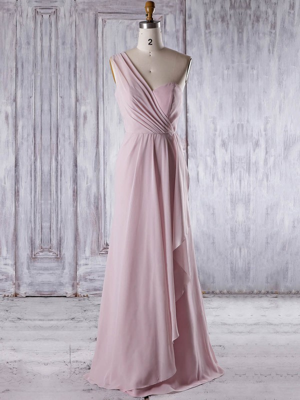Chiffon A-line One Shoulder Floor-length with Ruffles Bridesmaid Dresses #DOB01013324
