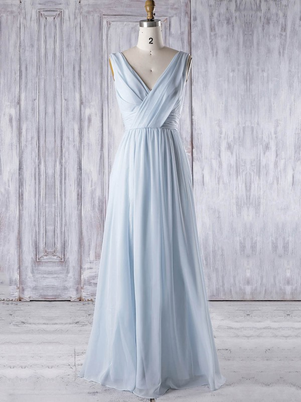 Chiffon A-line V-neck Floor-length with Ruffles Bridesmaid Dresses #DOB01013325