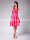 V-neck Empire Knee-length Chiffon Ruffles Bridesmaid Dresses #DOB02042140