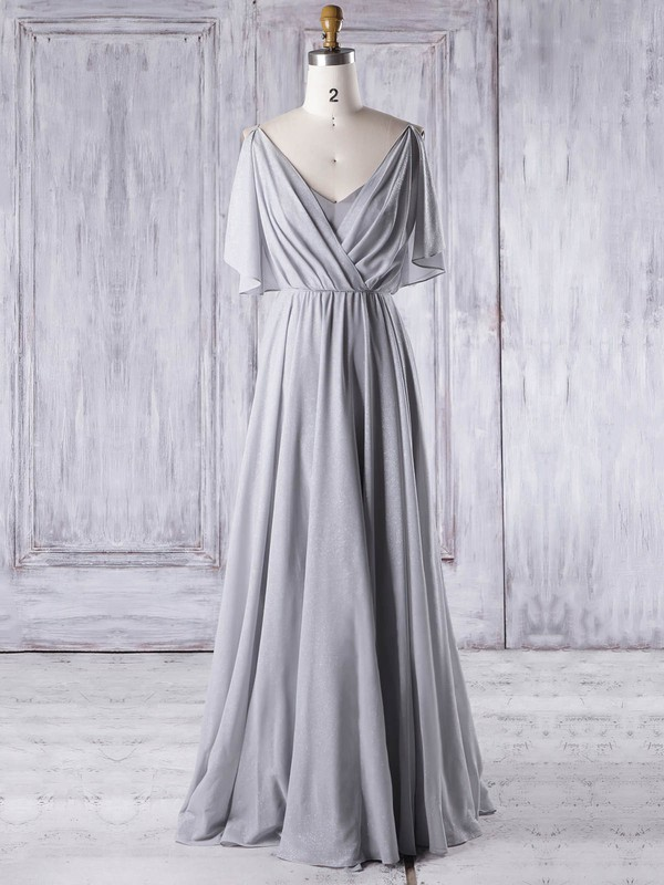 Chiffon A-line V-neck Floor-length with Ruffles Bridesmaid Dresses #DOB01013326