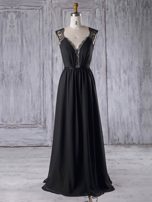 Lace Chiffon A-line V-neck Floor-length with Sashes / Ribbons Bridesmaid Dresses #DOB01013328