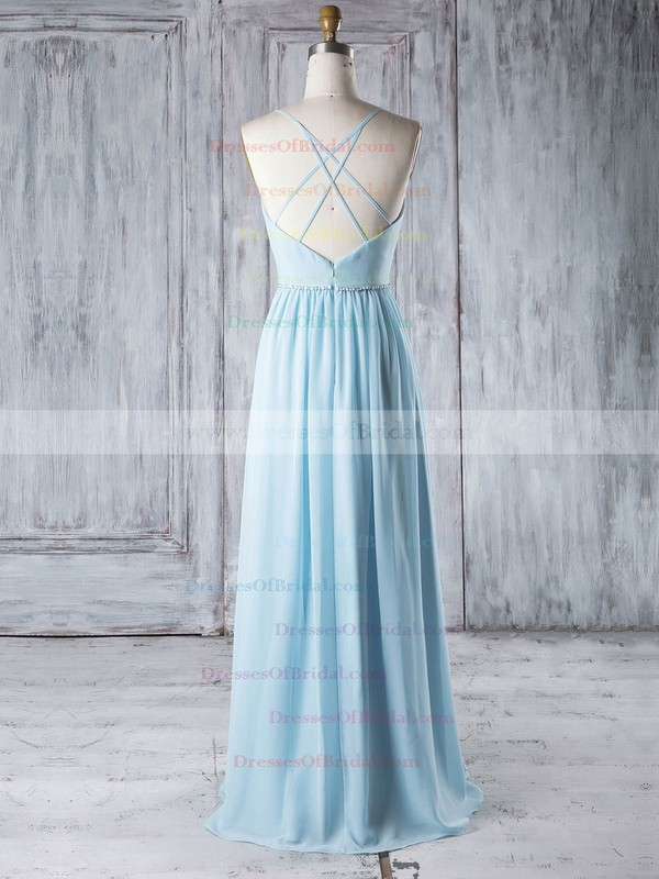 Chiffon A-line V-neck Floor-length with Beading Bridesmaid Dresses #DOB01013329
