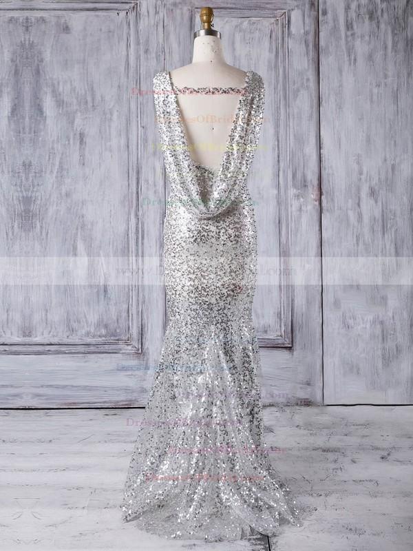 Tulle Trumpet/Mermaid Scoop Neck Sweep Train with Sequins Bridesmaid Dresses #DOB01013330