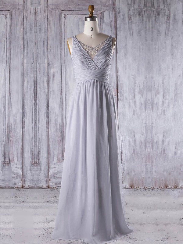 Chiffon Tulle A-line V-neck Floor-length with Pearl Detailing Bridesmaid Dresses #DOB01013331