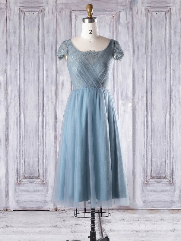 Lace Tulle A-line Scoop Neck Knee-length with Ruffles Bridesmaid Dresses #DOB01013332