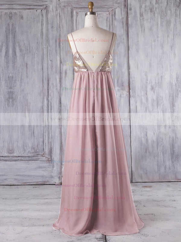 Chiffon Empire V-neck Floor-length with Sequins Bridesmaid Dresses #DOB01013333