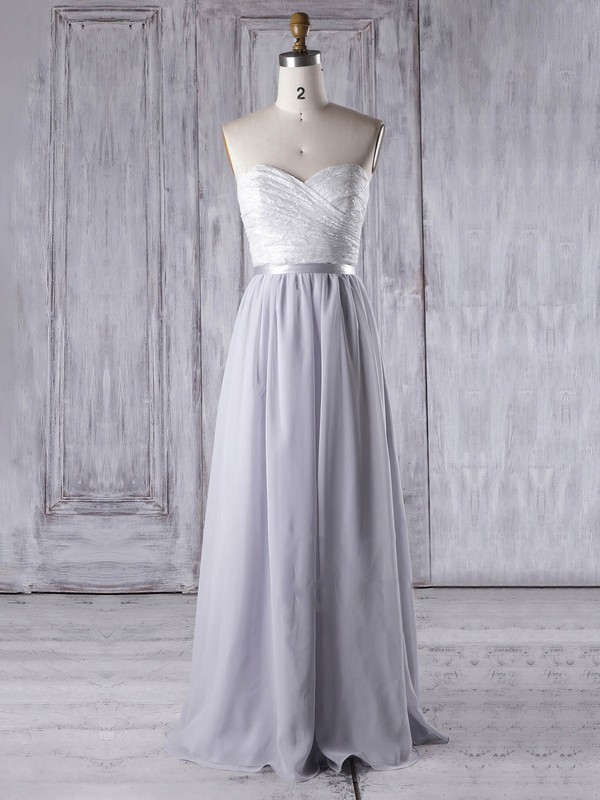 Lace Chiffon A-line Sweetheart Floor-length with Sashes / Ribbons Bridesmaid Dresses #DOB01013334