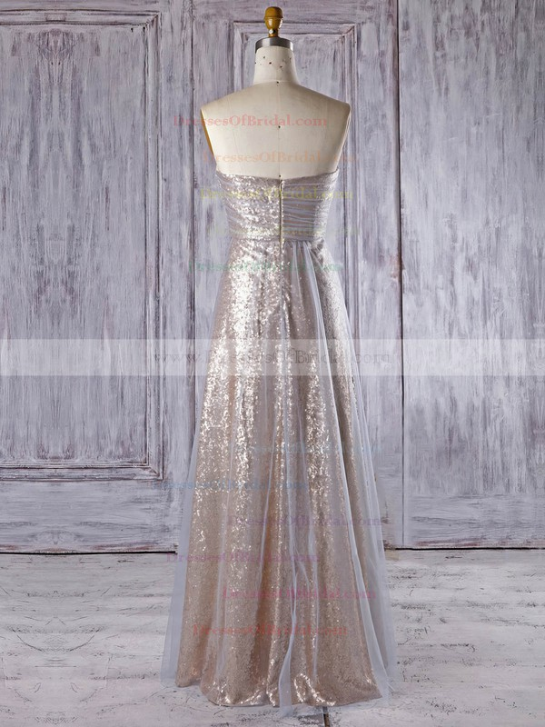 Tulle Sequined Empire Sweetheart Floor-length with Ruffles Bridesmaid Dresses #DOB01013335
