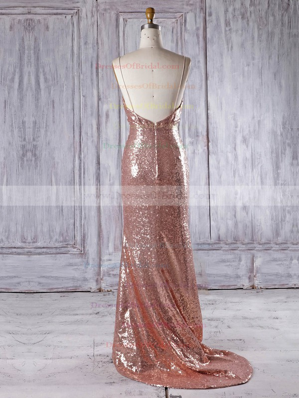 Sequined Trumpet/Mermaid V-neck Sweep Train with Ruffles Bridesmaid Dresses #DOB01013336