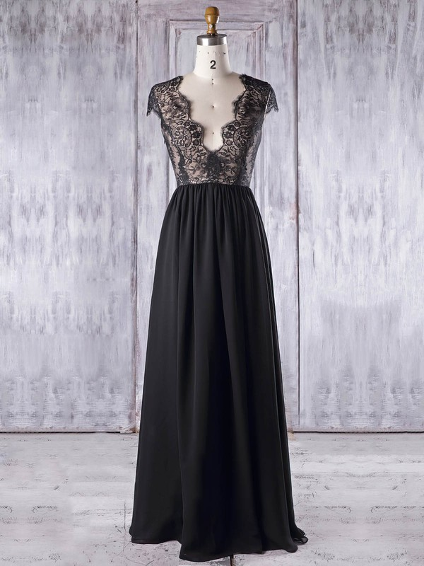 Chiffon Tulle A-line V-neck Floor-length with Lace Bridesmaid Dresses #DOB01013337