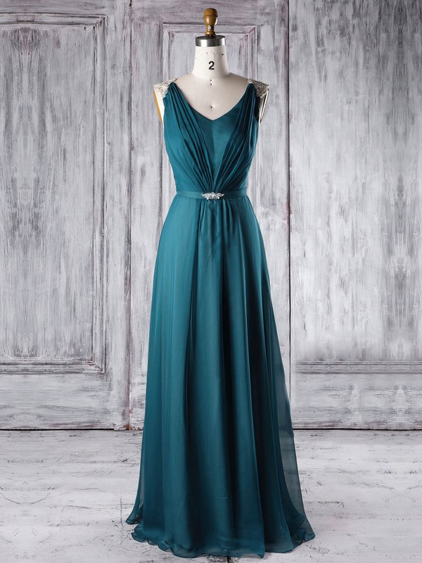 Chiffon A-line V-neck Floor-length with Sashes / Ribbons Bridesmaid Dresses #DOB01013338