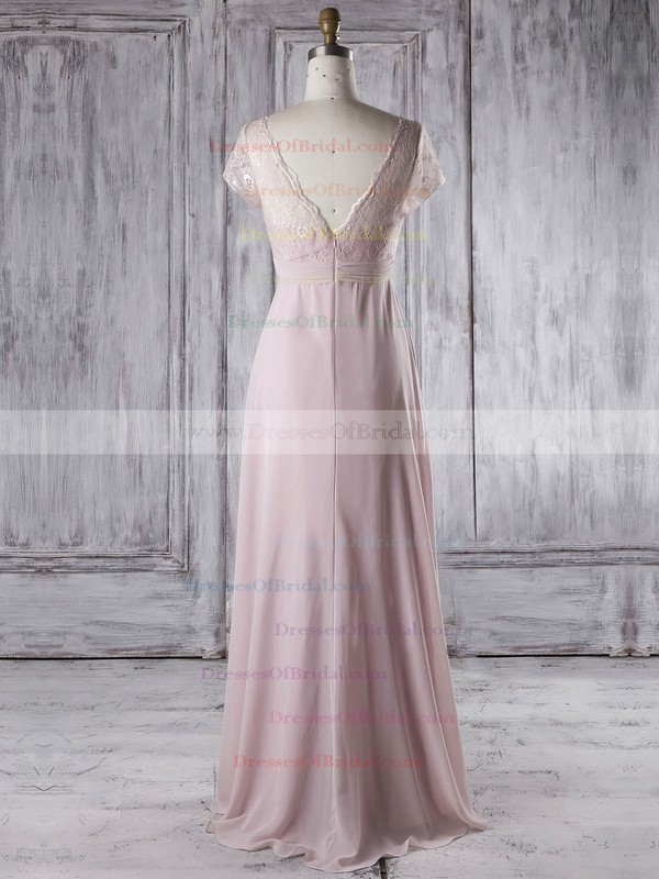 Lace Chiffon Empire V-neck Floor-length with Ruffles Bridesmaid Dresses #DOB01013339