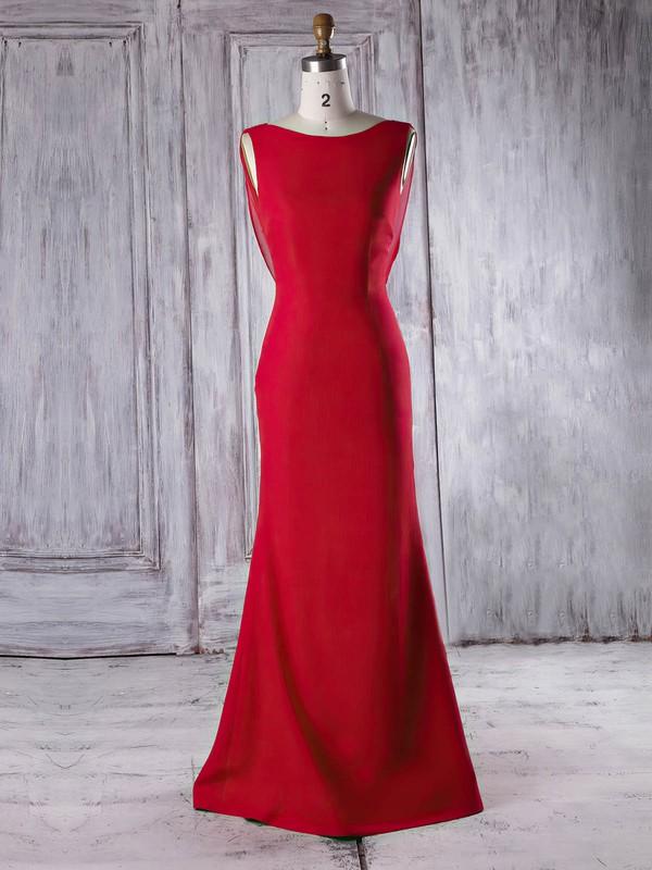 Chiffon Silk-like Satin Trumpet/Mermaid Scoop Neck Sweep Train with Ruffles Bridesmaid Dresses #DOB01013340