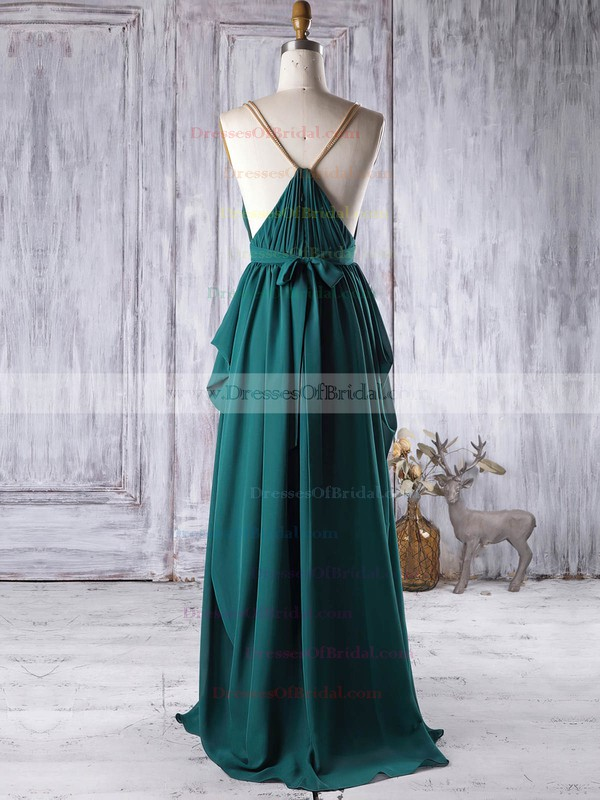 Chiffon A-line V-neck Floor-length with Sashes / Ribbons Bridesmaid Dresses #DOB01013341