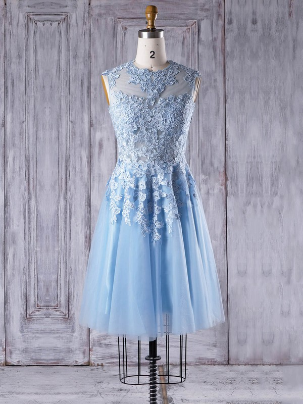 Tulle A-line Scoop Neck Short/Mini with Appliques Lace Bridesmaid Dresses #DOB01013342