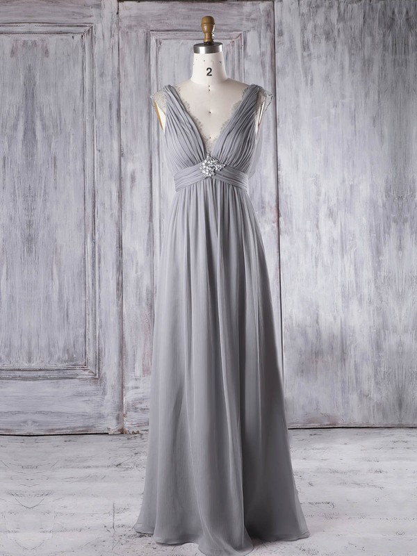 Lace Chiffon Empire V-neck Floor-length with Beading Bridesmaid Dresses #DOB01013343