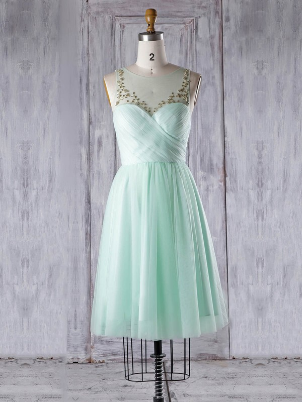Tulle A-line Scoop Neck Knee-length with Beading Bridesmaid Dresses #DOB01013344