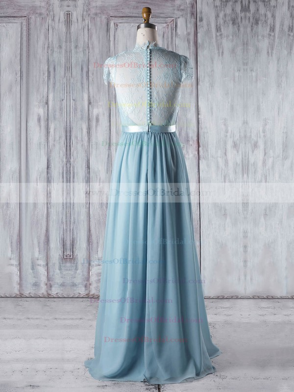 Lace Chiffon A-line V-neck Floor-length with Sashes / Ribbons Bridesmaid Dresses #DOB01013345