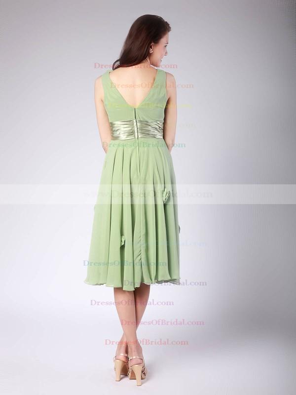 V-neck A-line Tea-length Chiffon Flower(s) Bridesmaid Dresses #DOB01012015