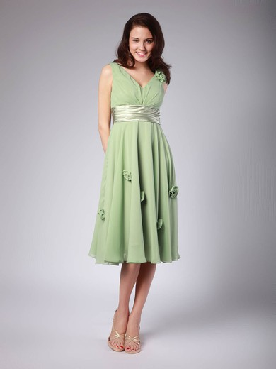 V-neck A-line Tea-length Chiffon Flower(s) Bridesmaid Dresses #DOB01012015