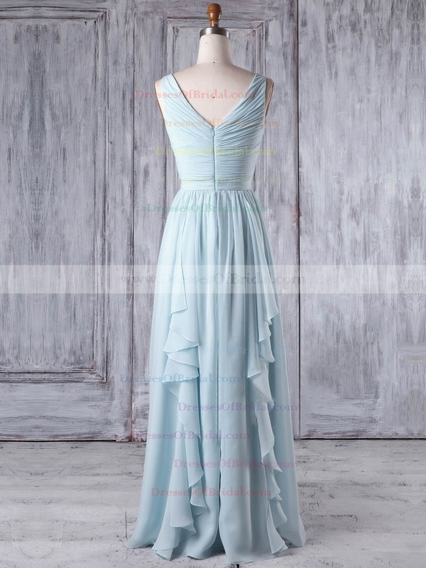 Chiffon A-line One Shoulder Floor-length with Criss Cross Bridesmaid Dresses #DOB01013346