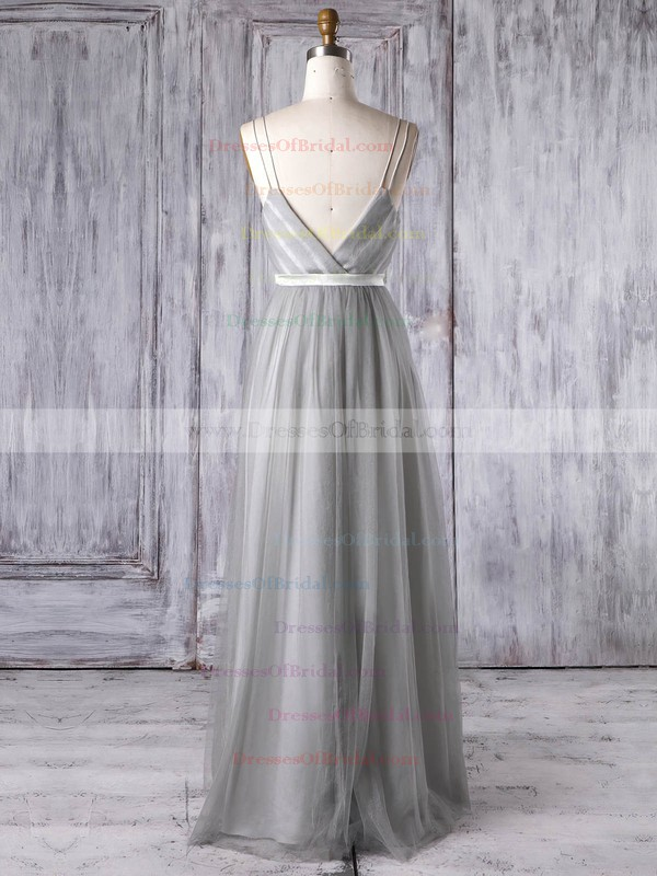 Tulle A-line V-neck Floor-length with Sashes / Ribbons Bridesmaid Dresses #DOB01013347