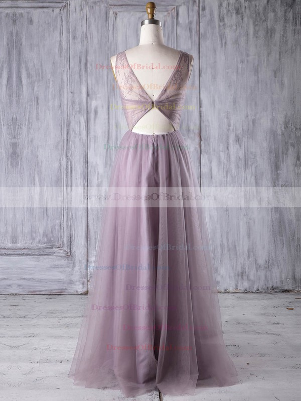 Lace Tulle A-line Scoop Neck Floor-length with Criss Cross Bridesmaid Dresses #DOB01013350