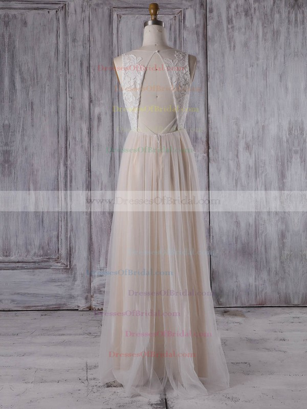Tulle A-line V-neck Floor-length with Appliques Lace Bridesmaid Dresses #DOB01013351