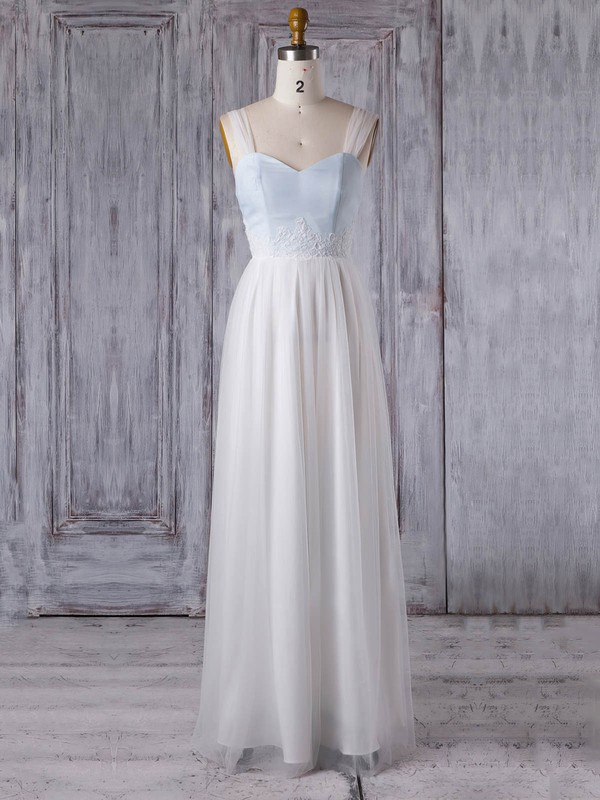 Tulle A-line Sweetheart Floor-length with Appliques Lace Bridesmaid Dresses #DOB01013352
