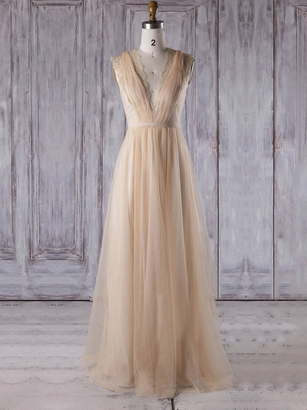 Lace Tulle A-line V-neck Floor-length with Sashes / Ribbons Bridesmaid Dresses #DOB01013353