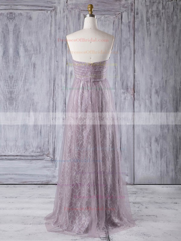 Lace Tulle Empire Sweetheart Floor-length with Criss Cross Bridesmaid Dresses #DOB01013355