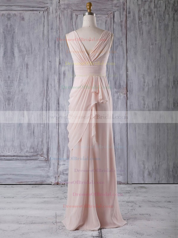 Chiffon Sheath/Column V-neck Floor-length with Ruffles Bridesmaid Dresses #DOB01013356
