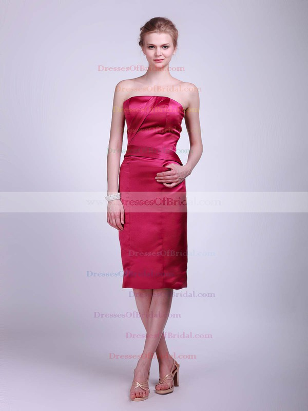 Strapless Sheath/Column Knee-length Satin Ruched Bridesmaid Dresses #DOB01012017