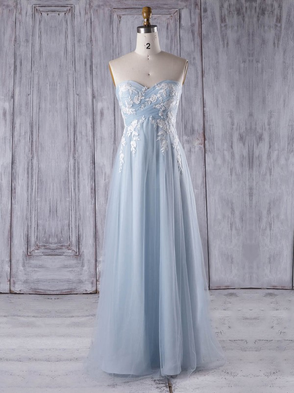 Tulle Empire Sweetheart Floor-length with Appliques Lace Bridesmaid Dresses #DOB01013358