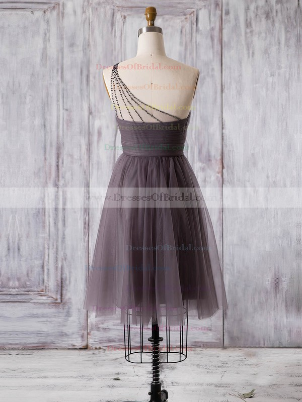 Tulle A-line One Shoulder Short/Mini with Ruffles Bridesmaid Dresses #DOB01013360