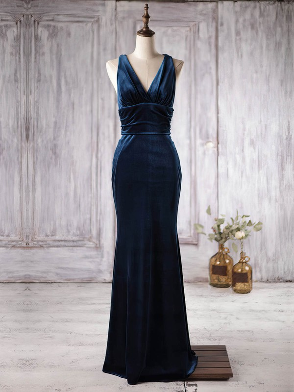 Velvet Trumpet/Mermaid V-neck Floor-length with Ruffles Bridesmaid Dresses #DOB01013363