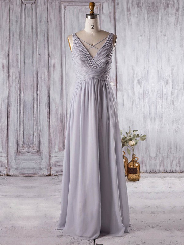 Chiffon A-line V-neck Floor-length with Ruffles Bridesmaid Dresses #DOB01013364