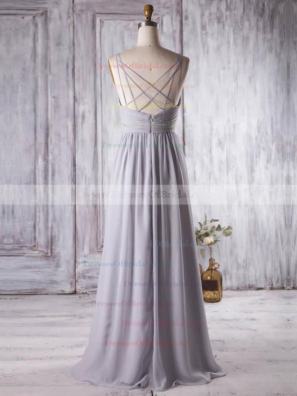 Chiffon A-line V-neck Floor-length with Ruffles Bridesmaid Dresses #DOB01013364