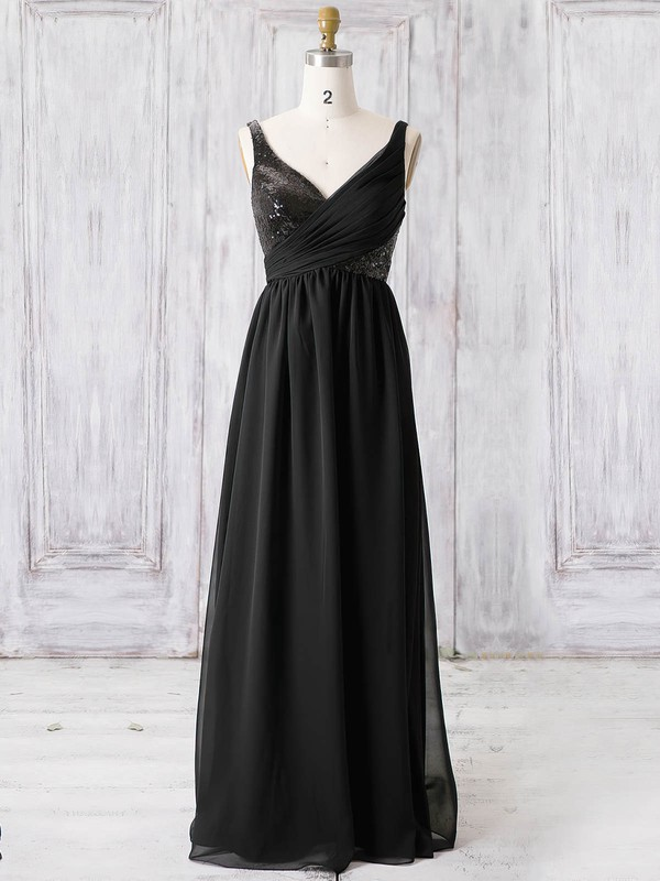 Chiffon A-line V-neck Floor-length with Sequins Bridesmaid Dresses #DOB01013365