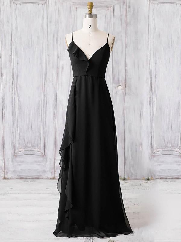 Chiffon A-line V-neck Floor-length with Ruffles Bridesmaid Dresses #DOB01013366