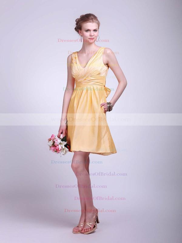 V-neck A-line Short/Mini Taffeta Ruffles Bridesmaid Dresses #DOB01012020