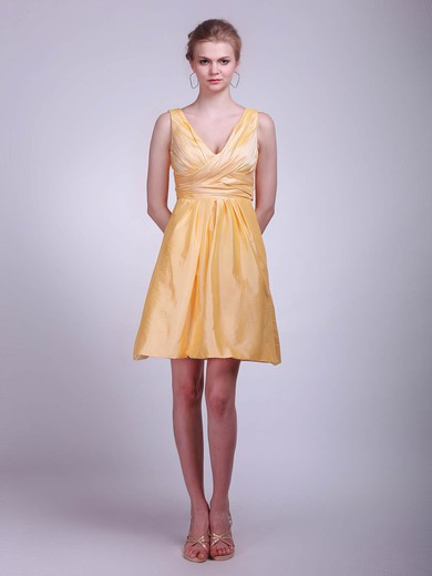 V-neck A-line Short/Mini Taffeta Ruffles Bridesmaid Dresses #DOB01012020