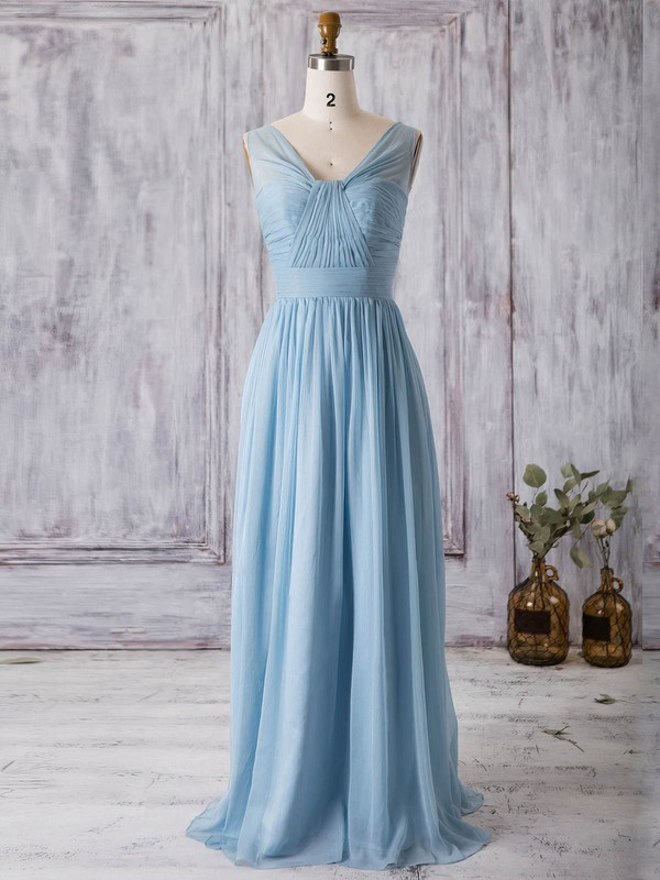 Chiffon A-line V-neck Floor-length with Ruffles Bridesmaid Dresses #DOB01013368