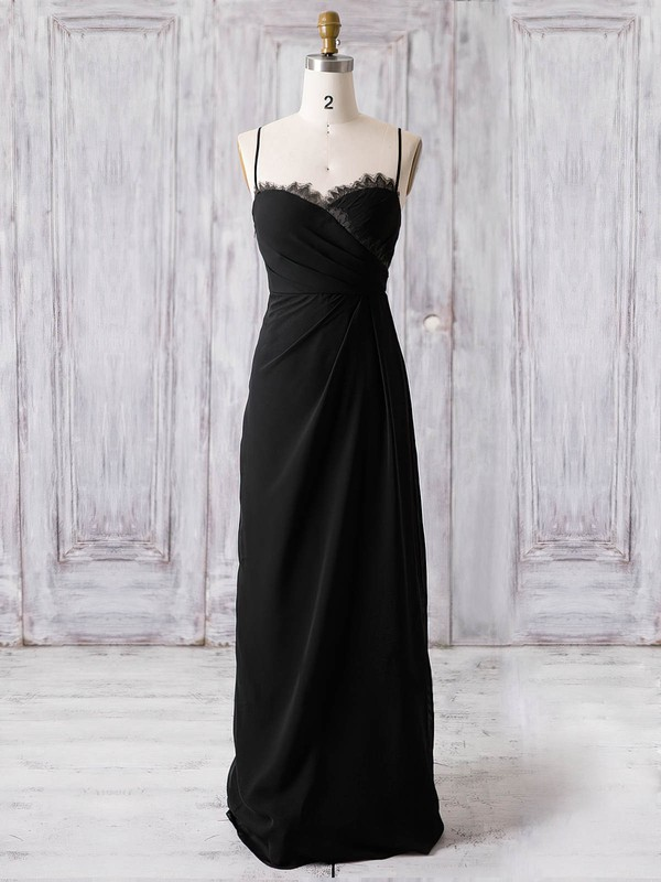 Chiffon A-line Sweetheart Floor-length with Lace Bridesmaid Dresses #DOB01013369