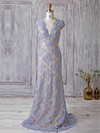 Tulle Sheath/Column V-neck Sweep Train with Appliques Lace Bridesmaid Dresses #DOB01013370