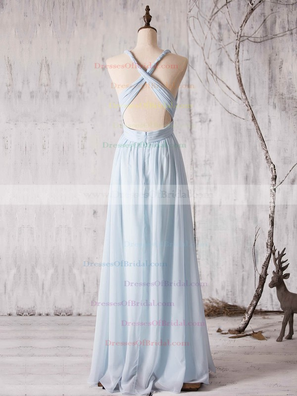 Chiffon A-line V-neck Floor-length with Ruffles Bridesmaid Dresses #DOB01013372